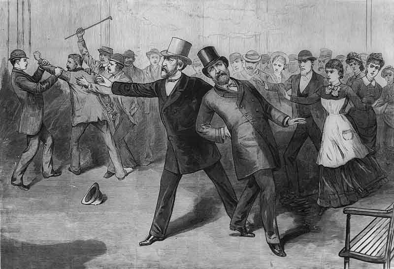 This engraving depicts the assassination of President James Garfield. (Source: Wikimedia Commons)