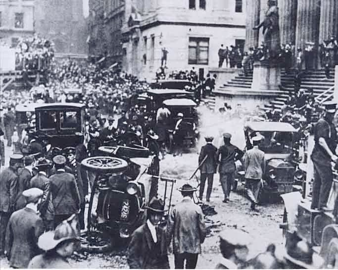 This pictures shows the aftermath of the Wall Street bombing Sept. 16, 1920. (Source: Wikimedia Commons)