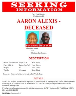 The FBI released this flier of Aaron Alexis after he was identified. (Source: FBI)