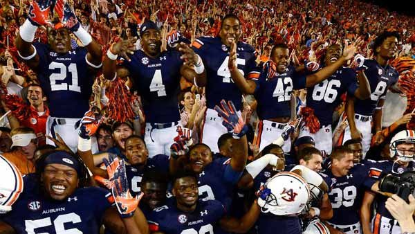Auburn players celebrate with great exuberance after last week's comeback win over Mississippi State. (Source: Todd Van Emst)
