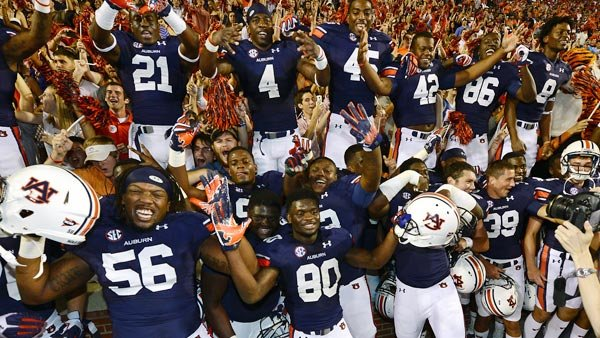 There are happy times in Auburn after a 3-0 start. We'll see if the party lasts beyond a trip to Baton Rouge this weekend. (Source: Todd Van Emst/Auburn University)