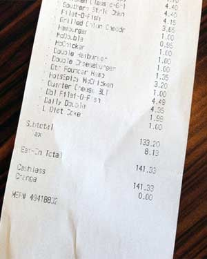 Chipman's receipt shows he spent $140.33 on burgers and $1 on a Diet Coke. (Source: Dude Foods)