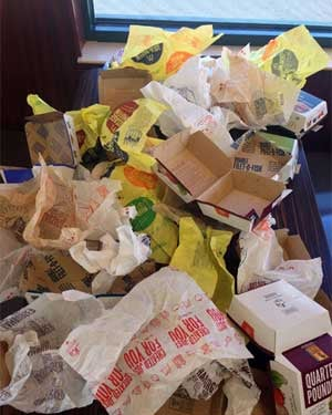 The remnants of those 43 sandwiches. (Source: Dude Foods)
