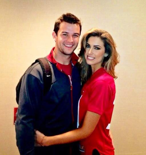 Alabama quarterback AJ McCarron, left, and his model girlfriend Katherine Webb may have broken up, making countless Southern bachelors - and ESPN broadcaster Brent Musberger - very happy. (Source: Katherine Webb/Twitt