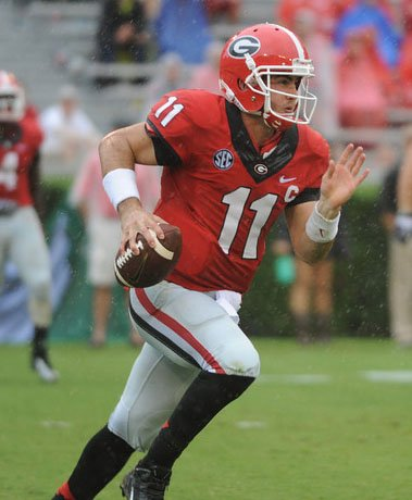 Georgia quarterback Aaron Murray passed for 408 yards and three touchdowns in a 45-21 win over North Texas last week, (Source: Sean Taylor/Georgia Athletics)