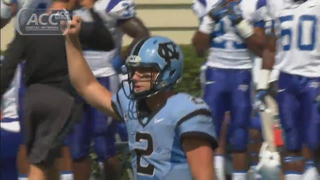 Quarterback Bryn Renner and the North Carolina Tar Heels play the East Carolina Pirates on Saturday in the ACC Network Game of the Week. (Source: ACC Network)