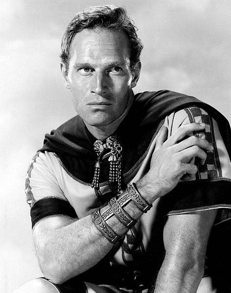 Charlton Heston, shown here in a promotional image for Ben-Hur, was born Oct. 4, 1923. (Source: Wikimedia Commons)