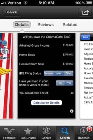This iPhone screenshot shows a sample page from the ObamcaCare: Do The Math app. (Source: RNN)