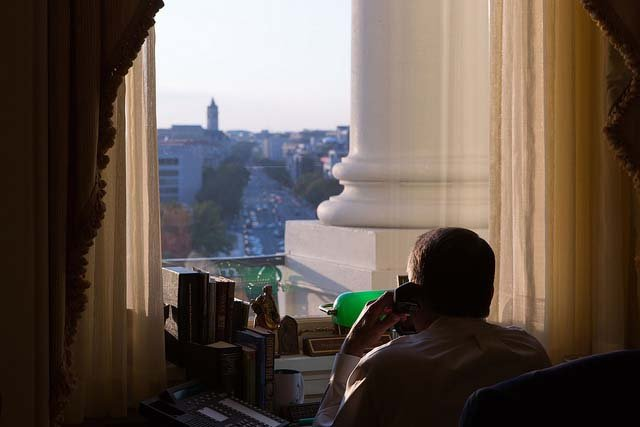 Speaker John Boehner speaks to President Barack Obama on the phone about funding for the government and Obamacare. (Source: Flickr)