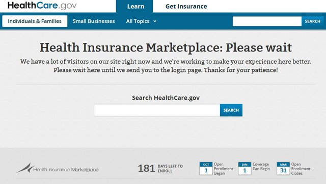 A high volume of visitors on the healthcare.gov website may cause delays for people interested in learning more about the Affordable Care Act's online health insurance marketplace. (healthcare.gov)