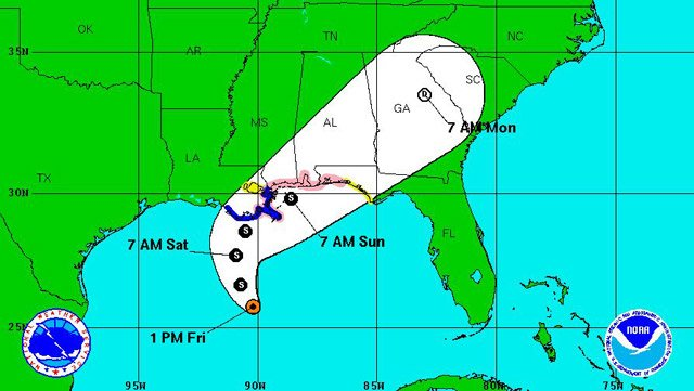 According to the National Hurricane Center's 1 p.m. CT forecast, Tropical Storm Karen is expected to make landfall Saturday somewhere between Louisiana and the Florida Panhandle. (Source: National Weather Service)