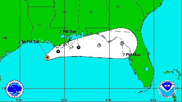 The latest forecast shows Karen as a weakening tropical storm. (So