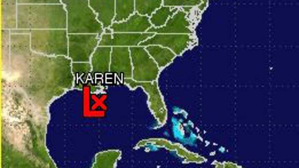 Karen is currently dissipating in the Gulf, accord