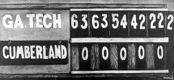 The scoreboard from the most lopsided game in college football history shows a 222-0 win for Georgia Tech over Cumberland. (Source: Wikimedia Commons)