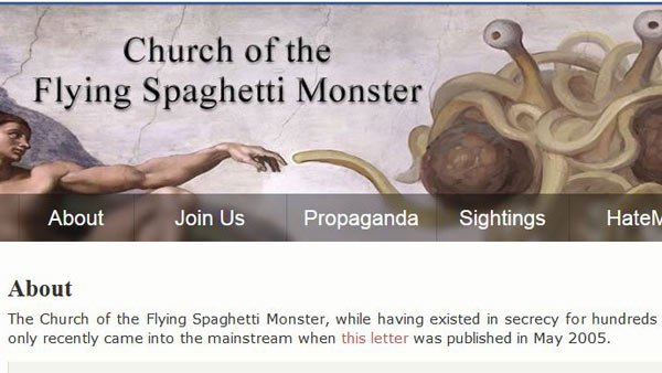 The Church of the Flying Spaghetti Monster's website is one location where one can obtain ministerial credentials. (Source: venganza.org)
