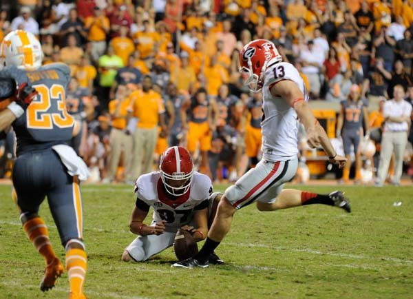 Georgia kicker Marshall Morgan kicks a game-winning field goal in overtime against Tennessee. (Source: Georgia Athletics)
