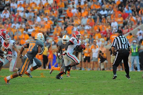 Georgia's J.J. Green runs against Tennessee. (Source: Georgia Athletics)