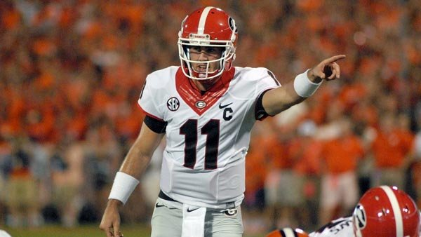 Aaron Murray and his record-setting arm invite the worst pass defense in the SEC into Athens on Saturday. (Source: Steven Colquitt/ Georgia Athletics)