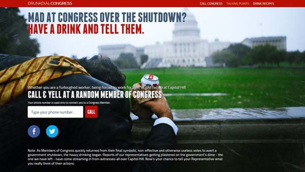 Have a beer, enter your number, rant at a member of congress. (Source: DrunkDialCongress.org)