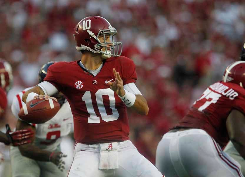 AJ McCarron, shown here in a game against Ole Miss, threw for a career-high 359 yards against Kentucky. (Source: Alabama Athletics)