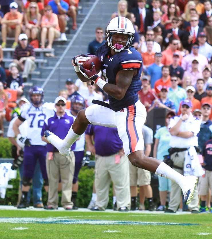 Trovon Reed made this picturesque grab in Auburn's Oct. 13 rout of Western Carolina. He and the Tigers travel to Texas A&M on Saturday. (Source: Todd Van Emst/Auburn Athletics)
