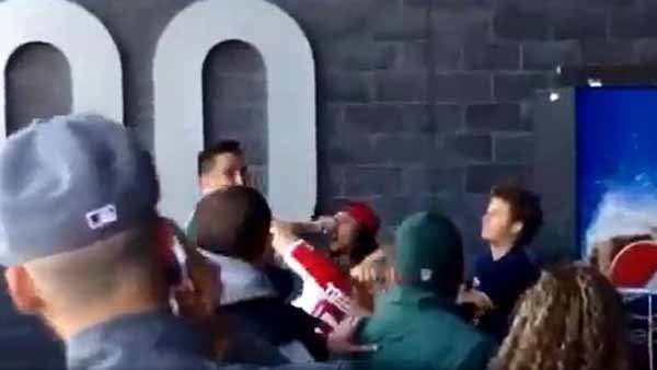 This is a screen grab from a viral video that shows an altercation at MetLife Stadium on Sunday, Oct. 21 (Source: YouTube)