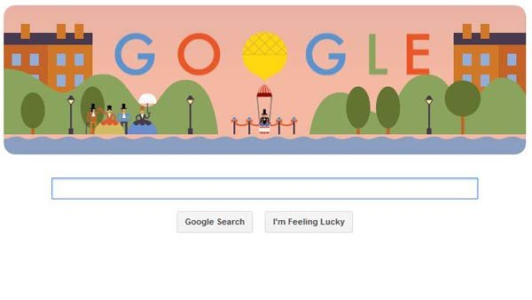 This screengrab shows Google's doodle honoring the first parachute drop. (Source: RNN)