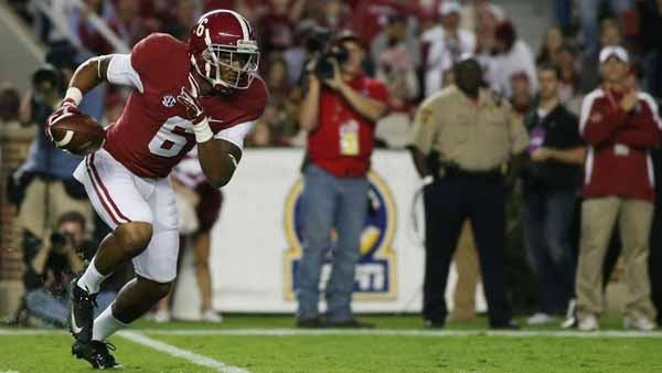 Ha Ha Clinton-Dix returned from suspension against Arkansas and intercepted this pass, which he returned for a far piece. (Source: University of Alabama Media Relations)
