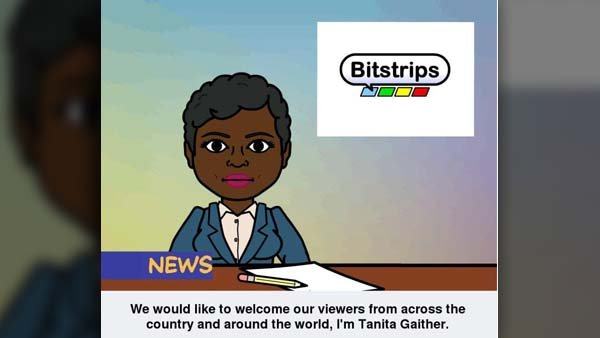 Here I am bringing you the news in real life and in a Bitstrip. (Source: Tanita Gaither/Bitstrips for Android)