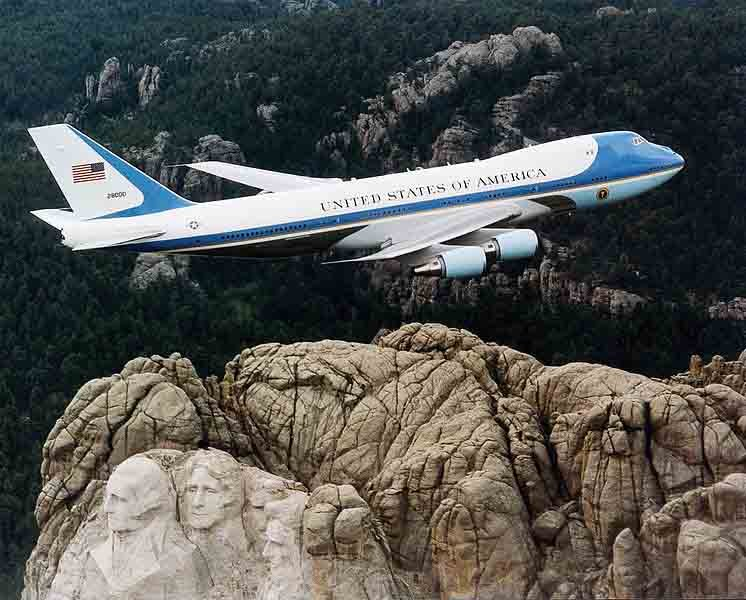 Air Force One flies over Mount Rushmore. Mount Rushmore was completed Oct. 31, 1941, and South Dakota, where it is located, became a state Nov. 2, 1889. (Source: U.S. Air Force/Wikimedia Commons)