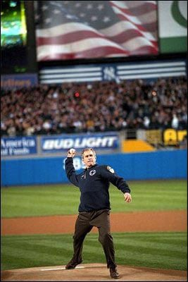 President George W. Bush throws out the first pitch of Game 3 of the 2001 World Series on Oct. 30, 2001. (Source: White House/Wikimedia Commons)
