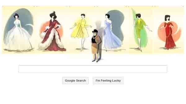 This screenshot shows Google's doodle honoring costume designer Edith Head. (Source: RNN)