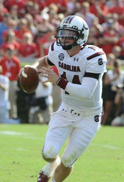 South Carolina quarterback Connor Shaw, shown here earlier in the season, was named offensive player of the week after rallying the Gamecocks to a 27-24 win over Missouri. (Source: South Carolina Athl