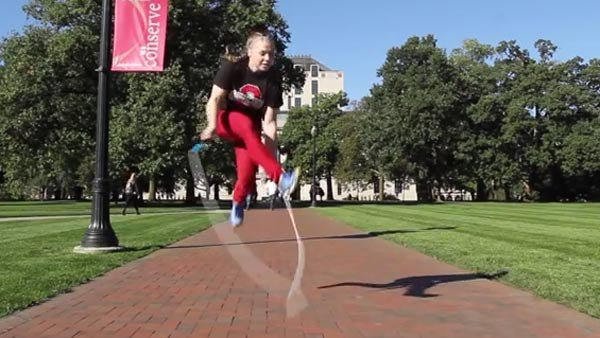 Tori Boggs owns two world records for jump rope. (Source: YouTube/Ohio State University)