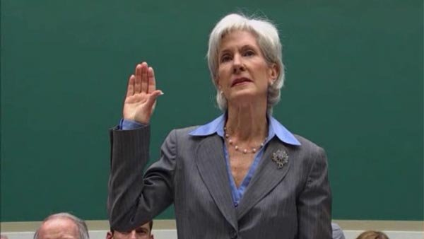 HHS Secretary Kathleen Sebelius takes the hot seat on Capitol Hill, while President Obama spoke in Boston. (Source: POOL/CNN)