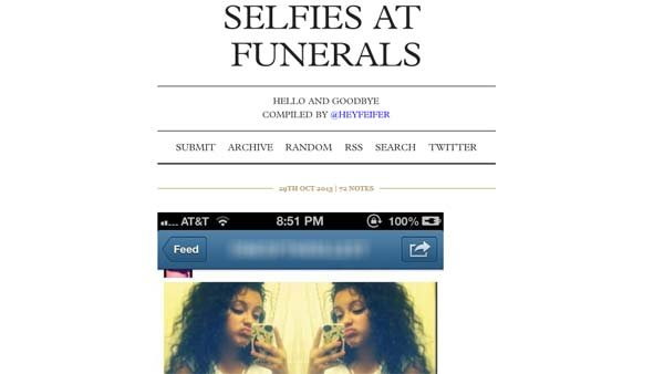 "The Tumblr page, ""Selfies at Funerals"" is a compilation of self portraits people have taken and posted on social media sites during a funeral. (Source: CNN)"