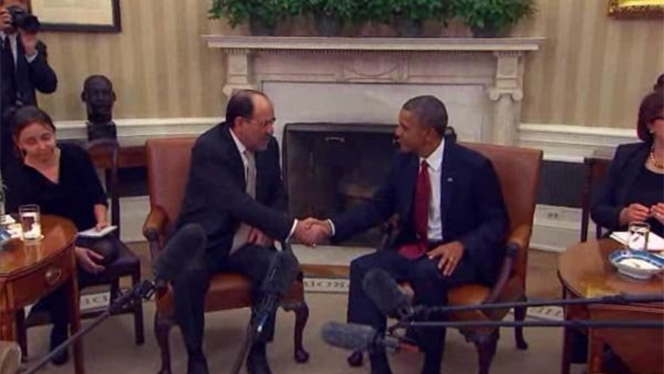 Pres. Obama meets with Iraqi prime minister to talk terror threat on Friday. (Source: POOL/CNN)