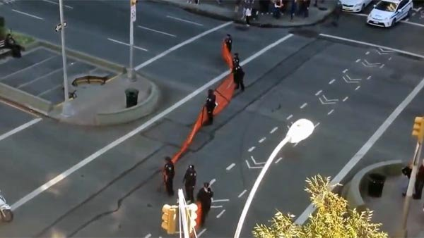 Police in New York had a hard time corralling skateboarders traveling down Broadway. (Source: Shredboard/YouTube)