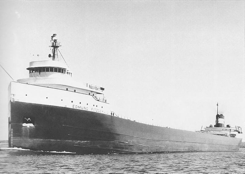 The SS Edmund Fitzgerald, which sank Nov. 10, 1975. (Source: U.S. Army Corps of Engineers/Wikimedia Commons)
