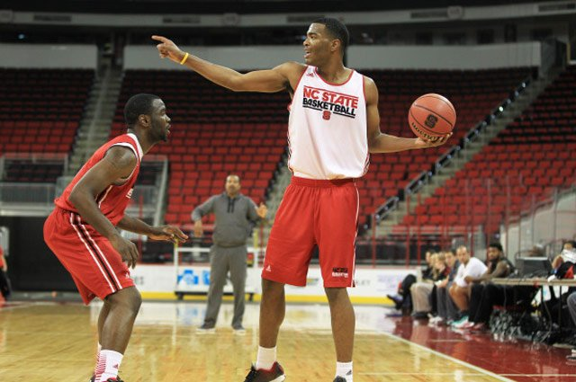NC State Wolfpack sophomore T.J. Warren, right, works against a defender in an Oct. 26 practice. (Source: Jack Tarr/NC State Athletics Commu