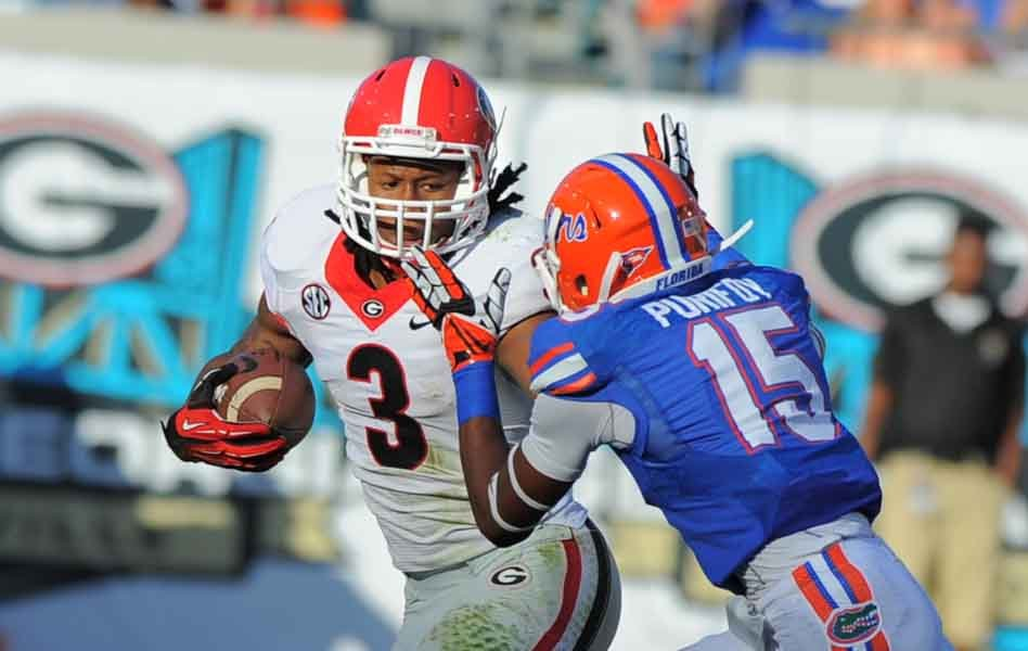 Georgia's Todd Gurley (3) runs against Florida. (Source: Georgia Athletics)