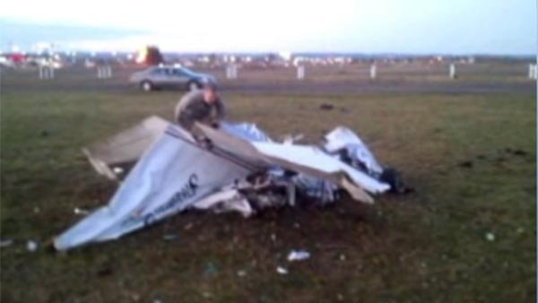 Two planes, carrying nine skydivers from Wisconsin, collided in midair Saturday. All nine survived. (Source: Skydive Superior/KQDS/CNN)