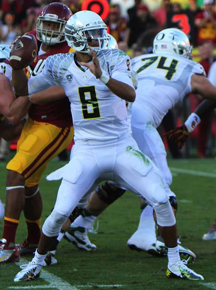 Oregon's Marcus Mariota is one of college football's most exciting players and a frontrunner for the Heisman Trophy. (Source: Neon Tommy via Wikimedia Commons)