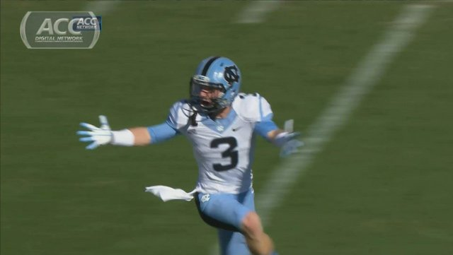 Ryan Switzer celebrates after throwing a TD pass in North Carolina's win over NC State on Nov. 2. (Source: ACC Network)