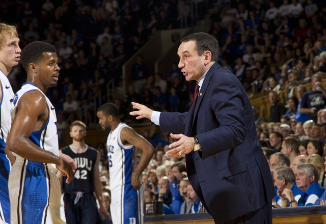 Duke Blue Devils coach Mike Krzyzewski leads his team into a matchup of Top-5 teams when they face the Kansas Jayhawks on Tuesday. (Source: Duke Athletics)