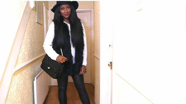 Fur jackets and fur vests are staple pieces this season, along with leather pants. (Source: beautybyjj/YouTube)