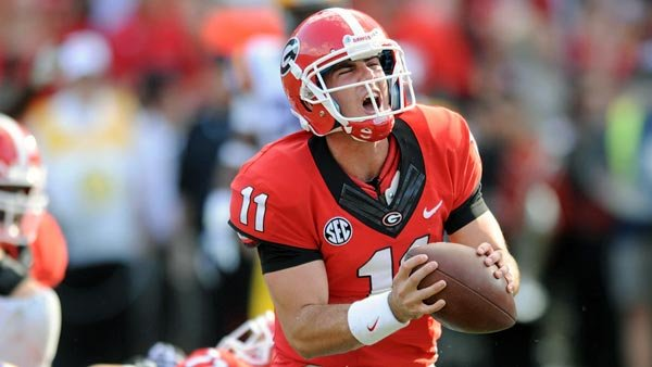 Aaron Murray had several reasons to shout for joy Saturday, namely the two touchdowns that put him atop the SEC record books. (Source: Radi Nabulsi/Georgia Athletics)