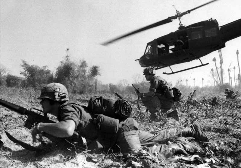 A helicopter is flown by Bruce Crandall during the Battle of Ia Drang. Crandall was awarded the Medal of Honor for his actions during the battle. (Source: U.S. Army/Wikimedia Commons)