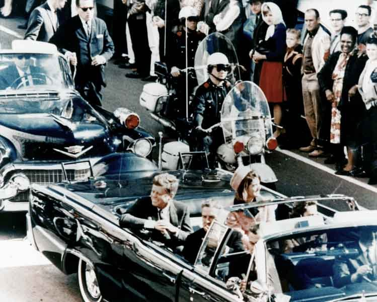 President John F. Kennedy, first lady Jacqueline Kennedy and Texas Gov. John Connally ride down Main Street in Dallas, TX, on Nov. 22, 1963, moments before Kennedy was assassinated. (Source: Wikimedia Commons)