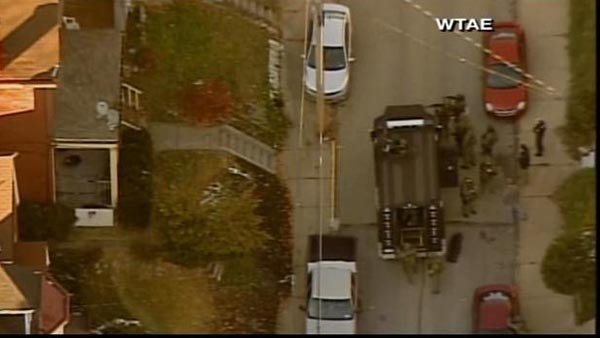 Roads leading to Brashear High School in Pittsburgh have been blocked in the wake of a school shooting that injured three. (Source: WTAE/CNN)